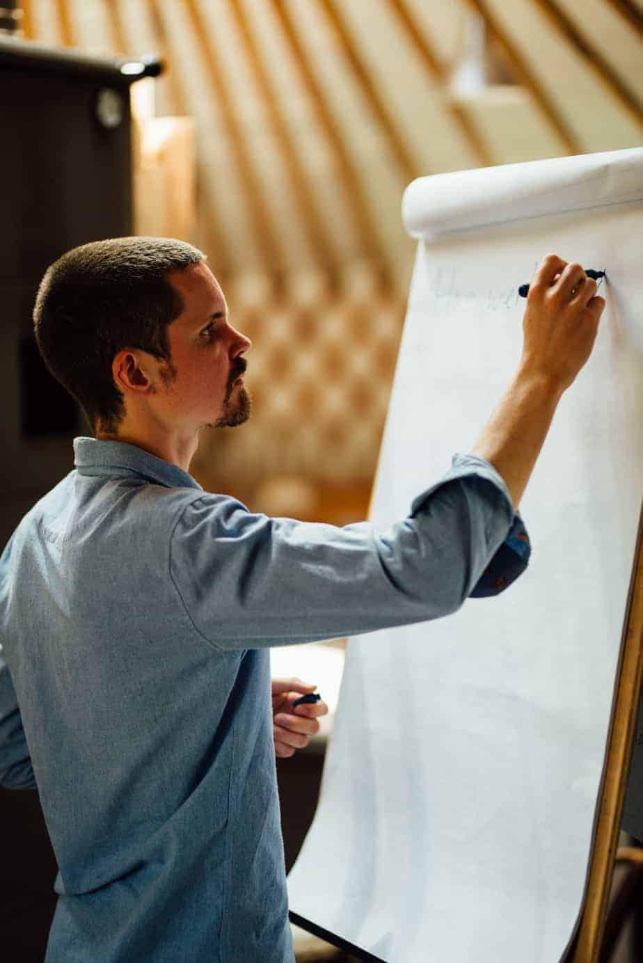 Mindfulness Individueel: De mindfulnesstrainer die op een flapover schrijft.