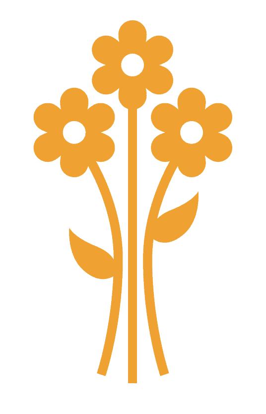 Tekening van bloemen die tot bloei komen.