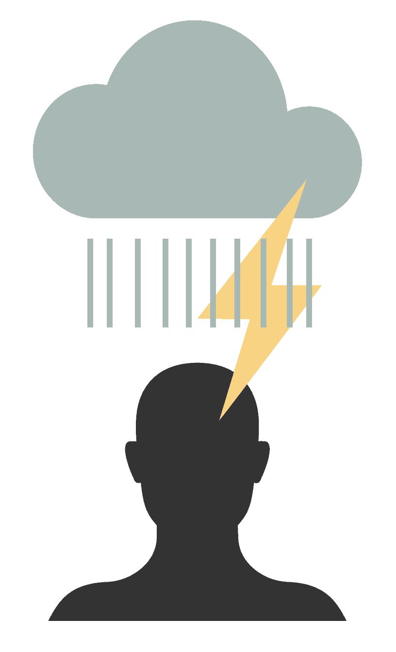 Een tekening van onweer boven iemand z'n hoofd: Hoe helpt mindfulness me uit deze depressie?