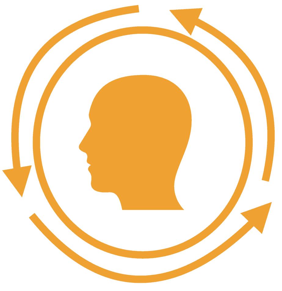 Een hoofd met ronde pijlen eromheen, de cirkelredenaties van piekeren.