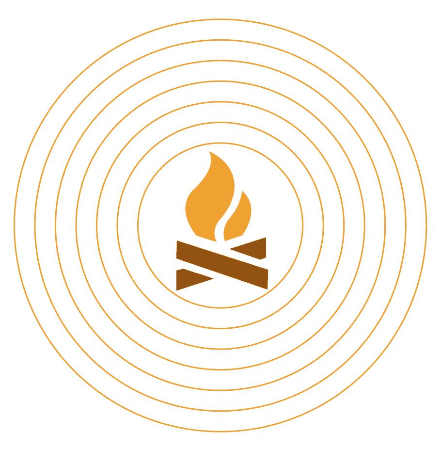 Hoe mindfulness burnout voorkomt: een afbeelding van een een klein vuurtje in een cirkel.