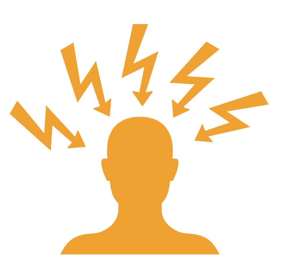 Afbeelding van bliksems rondom een hoofd: Mindfulness en stress, wat geeft jou stress?