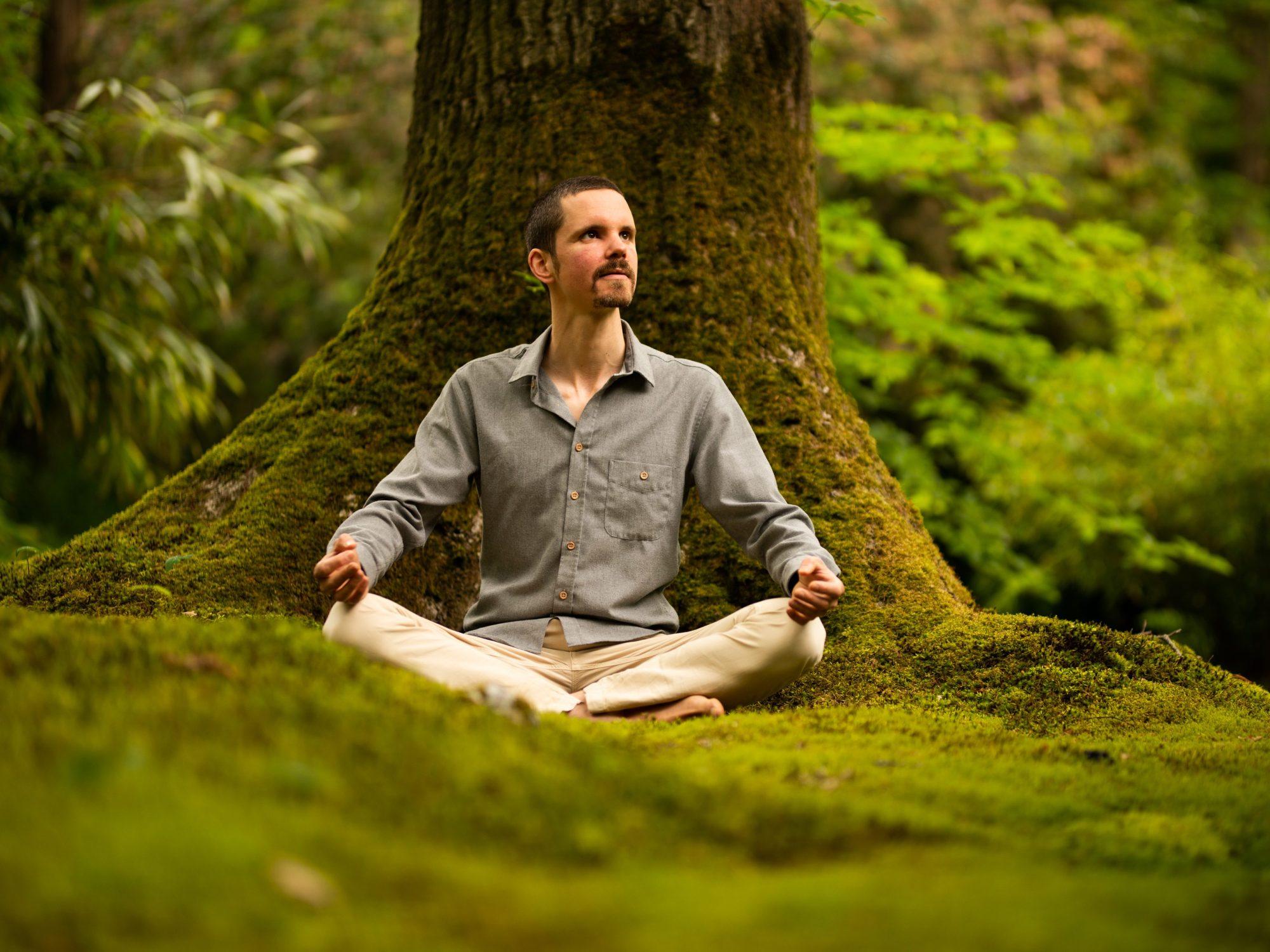 Trainer in meditatiehouding zittend voor een boom: Wat kan mindfulnesstraining je brengen?