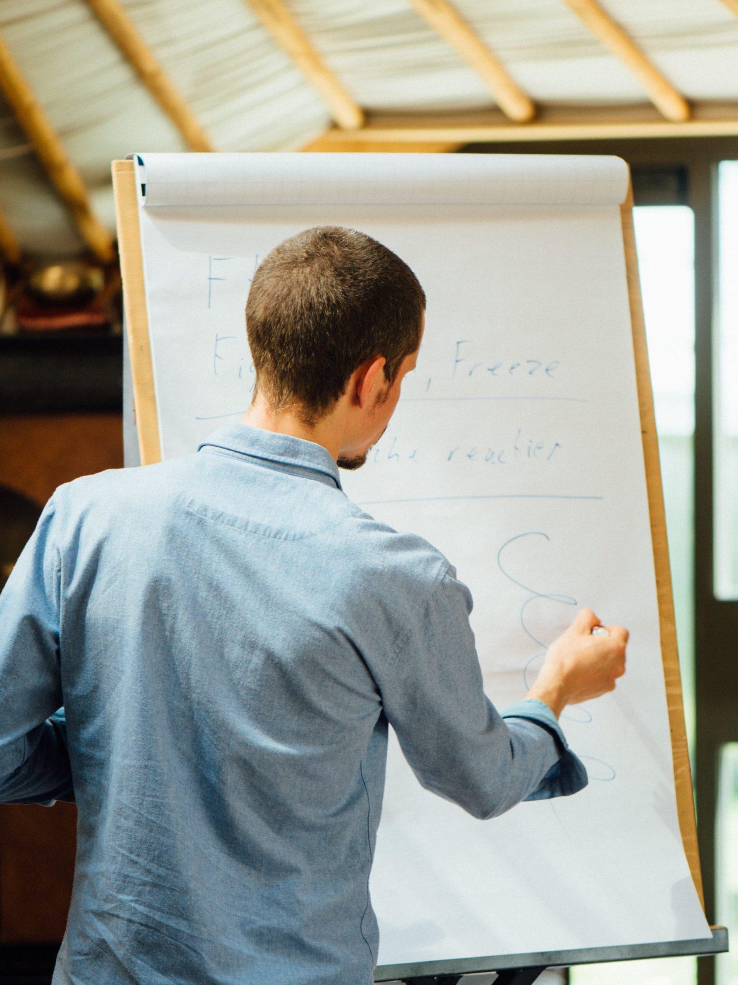 Trainer Marc van Heyningen geeft uitleg op het bord tijdens een training mindfulness.